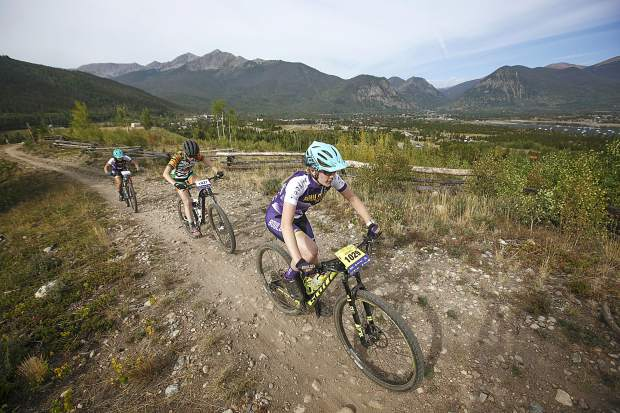 High school mountain bikers complete more uphill climbs in the girls division at the Frisco Bay Invite Saturday, Aug. 25, near the Frisco Adventure Park.
