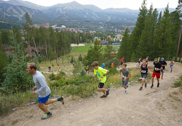 Runners take part in the final of six Summit Trail Running Series events this summer, the Carter Park 8K/14K, on Wednesday in Breckenridge.