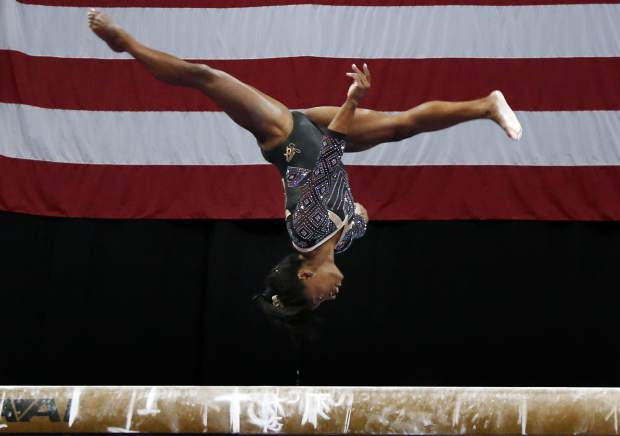 Simone Biles competes on the balance beam at the U.S. Gymnastics Championships on Friday in Boston.