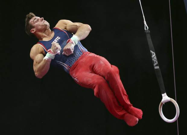 Sam Mikulak competes on the rings at the U.S. Gymnastics Championships on Saturday in Boston.