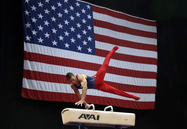 Sam Mikulak competes on the pommel horse at the U.S. Gymnastics Championships on Saturday in Boston.