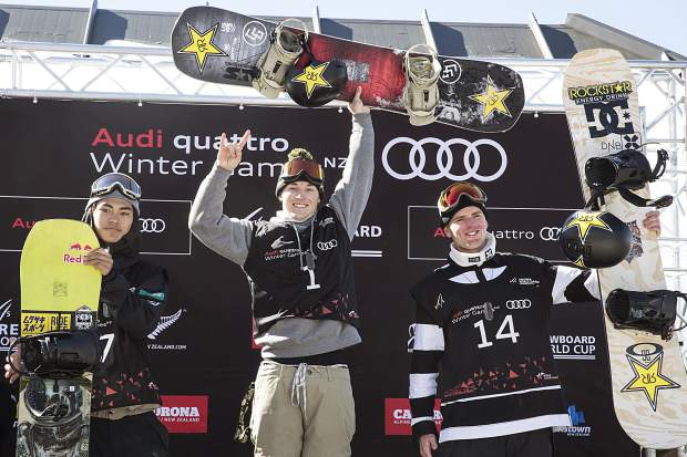 From left, Takeru Otsuka from Japan (runner-up), Chris Corning from Silverthorne (champion) and Mons Roisland of Norway (third place) pose on the podium for the International Ski and Snowboard Federation's men's snowboard big air World Cup final at the Winter Games New Zealand in Cardrona, New Zealand on Saturday. Corning effectively won the event by landing a quad-cork 1800, becoming the first American to ever do so in competition.