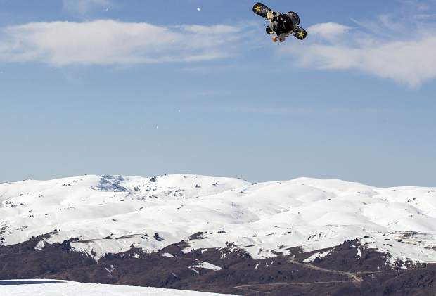 Silverthorne resident Chris Corning rotates in the air during the men's snowboard big air FIS World Cup final during the Winter Games New Zealand in Cardrona, New Zealand on Saturday. Corning effectively won the event by landing a quad-cork 1800, becoming the first American to ever do so in competition.