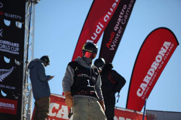 Silverthorne resident Chris Corning stares down the 75-foot big air jump through his goggles at the men's snowboard big air FIS World Cup final during the Winter Games New Zealand in Cardrona, New Zealand on Saturday. Corning effectively won the event by landing a quad-cork 1800, becoming the first American to ever do so in competition.