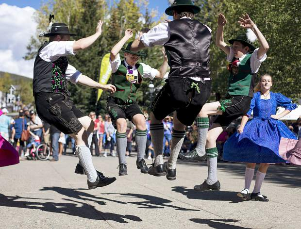 Trachten Erhaltungs Verein Edelweiss club members perform the traditional german dance during the Breckenridge Oktoberfest event Friday, Sept. 7, at the Blue River Plaza.