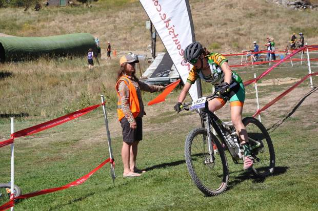 Summit High School junior Opal Koning rides during Sunday's Showdown In the Boat mountain bike race in Steamboat Springs. At the second Colorado High School Cycling League event of the season, Koning rode to a 12th-place finish in the 3-lap varsity girls race.