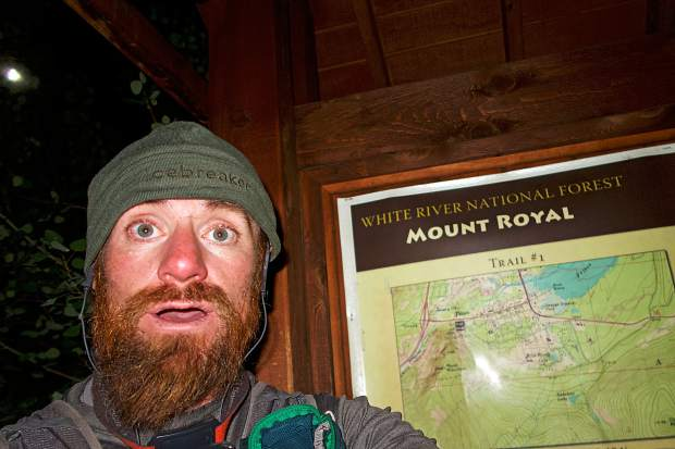 A haggard Justin Simoni takes a selfie at the base of Mount Royal after completing his successful attempt at traverssing the Mosquito and TenMile ranges from Trout Creek Pass near Buena Vista to Frisco's Main Street.