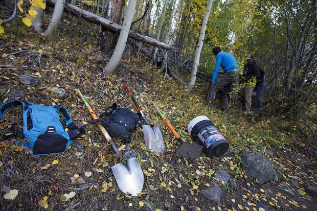 Summit Fat Tire Society volunteers' equipment Thursday, Sept. 20, on the Peaks Trail near Frisco.