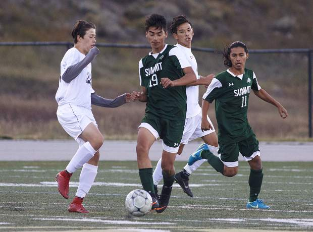 Summit High School sophomore Ivan Gutierrez dribbles the ball during the Tigers' 6-0 home win against Eagle Valley on Tuesday.