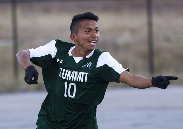 Summit High School senior playmaker Ismael Valenzuela reacts after scoring one of his two goals during the Tigers' 6-0 home victory against Eagle Valley on Tuesday at Tiger Stadium in Breckenridge.