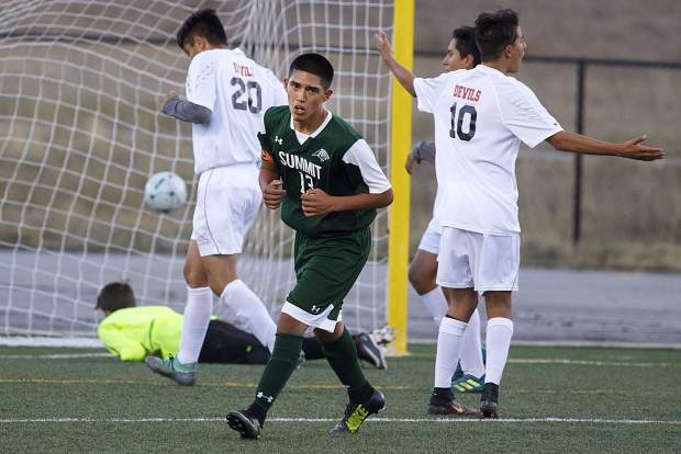 Summit High School senior Angel Rios reacts after scoring a goal during the Tigers' 6-0 home win over Eagle Valley on Tuesday at Tiger Stadium in Breckenridge.