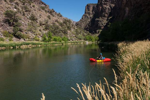 Packraft fly-fishing in Black Canyon of the Gunnison National Park.