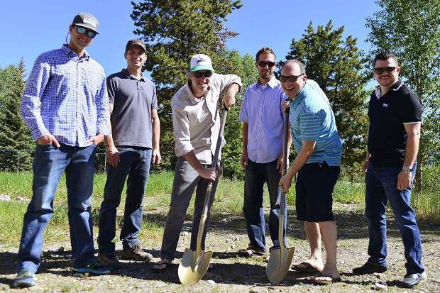 From left, Adam Sholl, project manager with Pinnacle Mountain Development; Pete McIntosh, project superintendent with Pinnacle; business owner Keegan Casey; Brett Confer, architect; business owner Todd Altschuler; and Carlos Villalobos, promoter, break ground on 10 Mile Music Hall in June 2017.