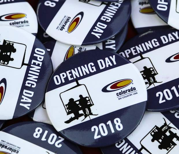 Colorado Ski Country USA handed out these buttons commemorating the opening day at Arapahoe Basin Ski Area on Friday.
