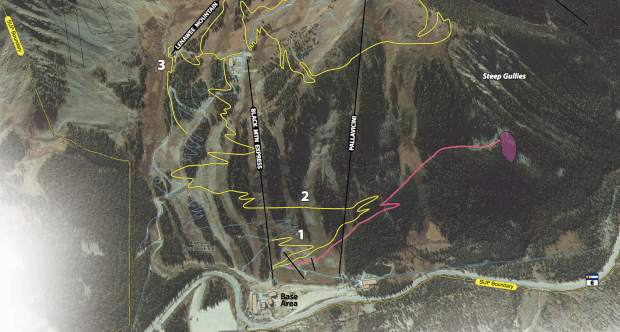 "The light purple section in this rendering signifies the area along a rock face at Arapahoe Basin Ski Area's Steep Gullies terrain where the ski area wants to install a via ferrata zone for summertime recreation. A via ferrata — which is Italian for ""iron path"" — traditionally is a protected climbing route most often involving a steel cable which runs along the route and is periodically fixed to the bedrock. The yellow lines signify new hiking and mountain biking trails A-Basin wants to build while the red line signifies an ingress/egress trail to the via ferrata zone."