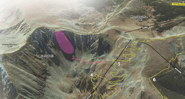 "The light purple section in this rendering signifies the area along Arapahoe Basin Ski Area's East Wall where the ski area wants to install a via ferrata zone for summertime recreation. A via ferrata — which is Italian for ""iron path"" — traditionally is a protected climbing route most often involving a steel cable which runs along the route and is periodically fixed to the bedrock. The yellow lines signify new hiking and mountain biking trails A-Basin wants to build while the red line signifies an ingress/egress trail to the via ferrata zone."