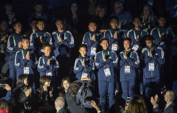The young Thai football team The Wild Boars, who were rescued from Tham Luang cave in Thailand, attend the opening ceremony of The Youth Olympic Games, in Buenos Aires, Argentina on Saturday.