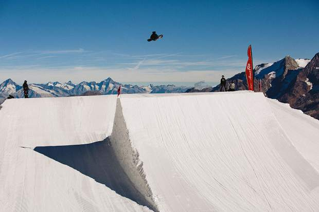 2018 FIS World Cup snowboard season champion Chris Corning rides at the U.S. Ski and Snowboard national team's training camp at the Saas-Fee Stomping Grounds in Switzerland.