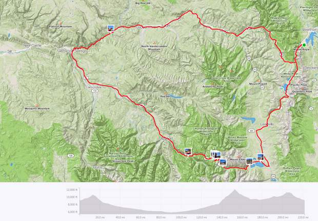 This is the map of Patrick Linfante's 222-mile late September 2-day bike loop from Frisco to Aspen, and back.