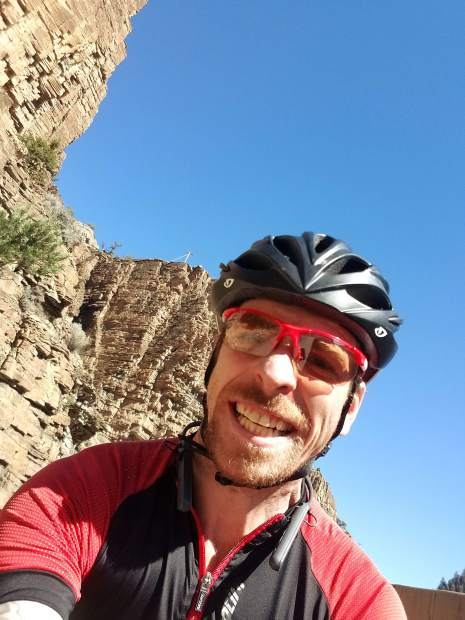 Patrick Linfante of Frisco took this selfie while riding in Glenwood Canyon during his 222-mile, late-September 2-day bike loop from Frisco to Aspen, and back.