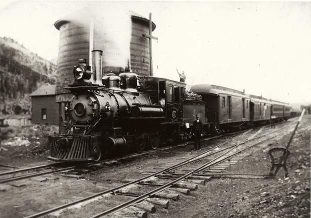 Filling the Tender at the Dickey Water Tank in 1902. After westbound engines took on water at Dickey, they refilled at Solitude Station, near Wheeler (Copper Mountain), before starting the climb to the next water tank at Kokomo, six miles away and 800 feet higher.