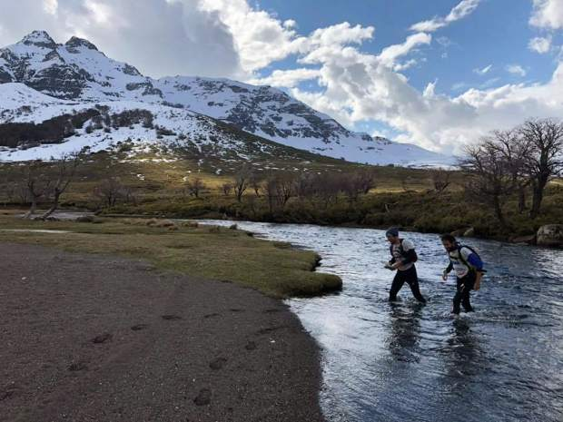 Summit County local Olof Hedberg (left) and Martin Saenz of Ecuador cross a freezing-cold high-alpine stream during their quartet'smulti-day, 200-plus-mile Adventure Racing victory last week in Patagonia.