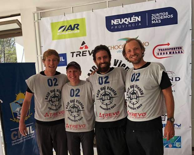 Summit County local Olof Hedberg, right, and the other members of his Team Adventure Medical Kits Adventure Racing Team (Erik Sanders of Golden, Mari Chandler of Michigan and Martin Saenz of Ecuador) pose for a pre-race photo before their victory at least week's 200-plus mile