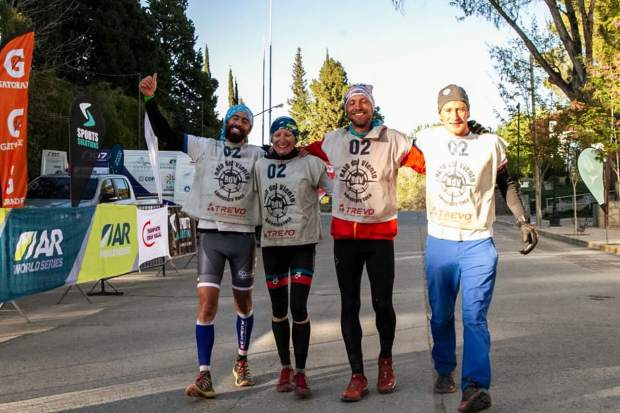 United States-based Team Adventure Medical Kits, including Summit County local Olof Hedberg (second from right), collectively smile as they cross the finish line in first place at last week's Raid Del Viento 200-plus-mile, multi-day Adventure Racing event in Argentina's Patagonia. The team completed the course in 45 hours and 45 minutes after only sleeping for 90 total minutes total during the event.