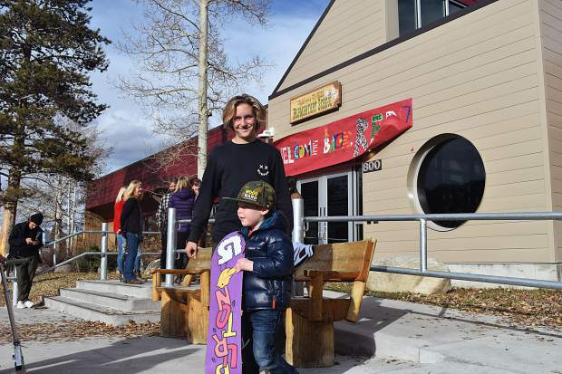 Olympic gold-medal winning snowboarder Red Gerard smiles after signing his final autograph of the day, for young Summit County local Sammy Sherburne, at Frisco Elementary School on Tuesday afternoon.