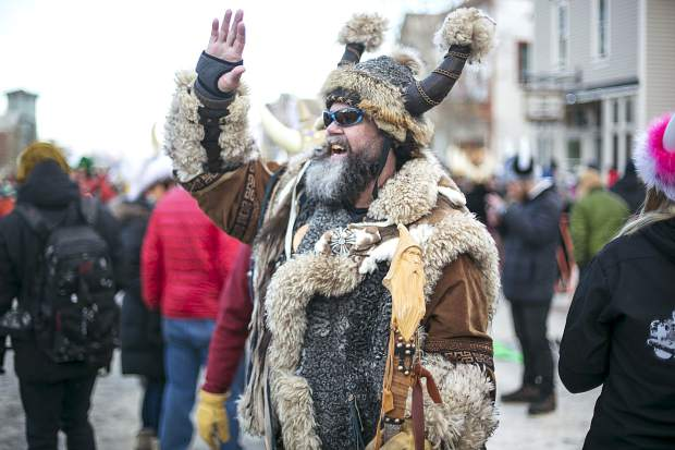 Ullr waves to the crowd during the Ullr Fest Parade Thursday, Jan. 11, on Main Street in Breckenridge.