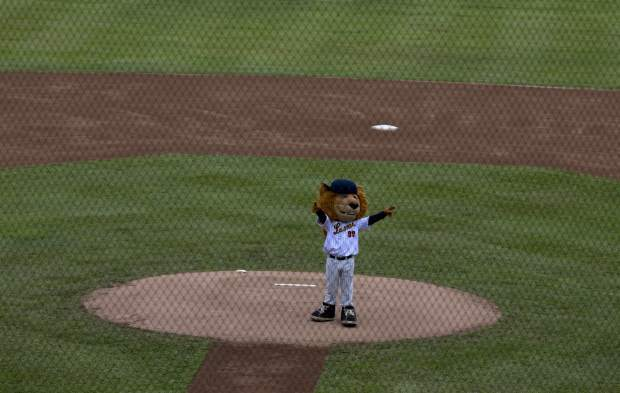 Tthe mascot of Leones de Caracas greets the public from the pitchers' mound at the baseball season's opening game with Tiburones de la Guaira in Caracas, Venezuela. Throughout Venezuela, as winter league play gets underway, fans are having to make sacrifices to feed their passion for the