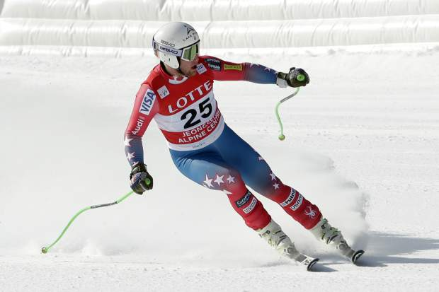 In this February 2016 file photo, Andrew Weibrecht crosses the finish line during a men's World Cup downhill race, a test event for the Pyeongchang 2018 Winter Olympics, in Jeongseon, South Korea. The two-time Olympic medalist in downhill skiing is forging a new life since he retired in May.