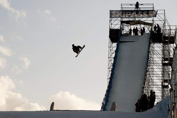 The man-made big air jump in Modena, Italy is seen during a training session last week at the FIS snowboard big air World Cup event in Modena.