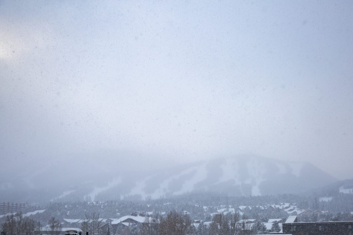 Breckenridge Ski Resort's peaks are blanketed in cloud cover in advance of Wednesday's early season-opening.