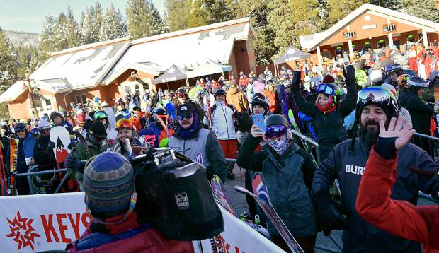 Opening day skiers and riders exude energy prior to boarding the River Run Gondola at Keystone Resort during Keystone's opening day on Wednesday morning.