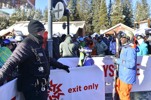 Opening day skiers and riders exude excitement prior to boarding the River Run Gondola at Keystone Resort during Keystone's opening day on Wednesday morning.