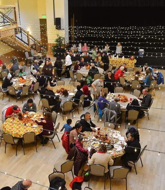 The community enjoys a free feast Thursday during the Summit County Rotary Community Thanksgiving Dinner at the Silverthorne Pavilion.