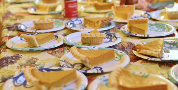 Slices of pumpkin pie are laid out on a table Thursday during the Summit County Rotary Community Thanksgiving Dinner at the Silverthorne Pavilion.