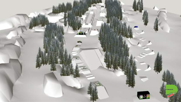 This rendering provided by Dew Tour showcases the overall layout on Breckenridge Ski Resort's Peak 8 for the Dew Tour superpipe, slopestyle and adaptive banked slalom courses.