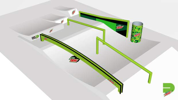 This rendering provided by Dew Tour showcases one of the features that will be part of the jibs portion of Dew Tour's slopestyle competition.