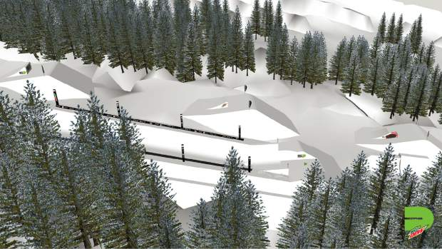 This rendering provided by Dew Tour showcases the overall layout for the jumps portion of Dew Tour's slopestyle competition, the separate superpipe in view in the foreground.