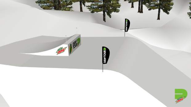 This rendering provided by Dew Tour showcases one of the features that will be part of the jumps portion of Dew Tour's slopestyle competition.