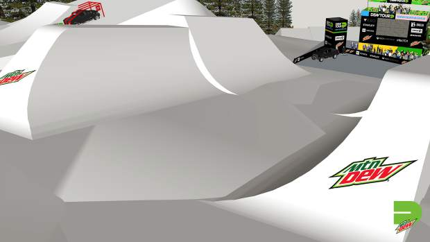 This rendering provided by Dew Tour showcases the non-traditional halfpipe feature that will conclude the overall