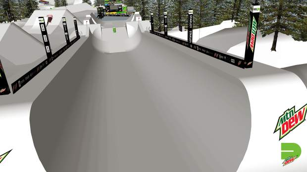 This rendering provided by Dew Tour showcases the vantage point from the top of the halfpipe portion of the new Dew Tour superpipe course, which will feature non-traditional halfpipe features for skiers and snowboarders to hit above and below the actual halfpipe.