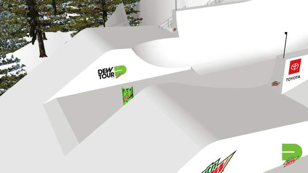 This rendering provided by Dew Tour showcases the non-traditional halfpipe feature that will transition skiers and snowboarders from the traditional halfpipe portion of the overall