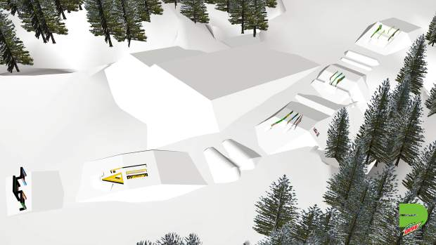 This rendering provided by Dew Tour showcases the overall layout for the jibs portion of Dew Tour's slopestyle competition.