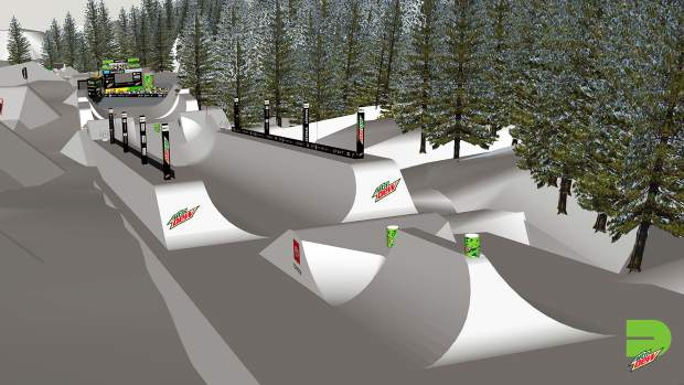 This rendering provided by Dew Tour showcases the vantage point from the top of the new Dew Tour superpipe course, which will feature non-traditional halfpipe features for skiers and snowboarders to hit above and below the actual superpipe.
