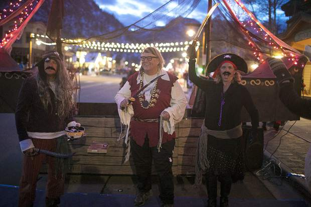 Pirate characters from Next Page Bookstore along Main Street Wednesday, Oct. 31, in Frisco.