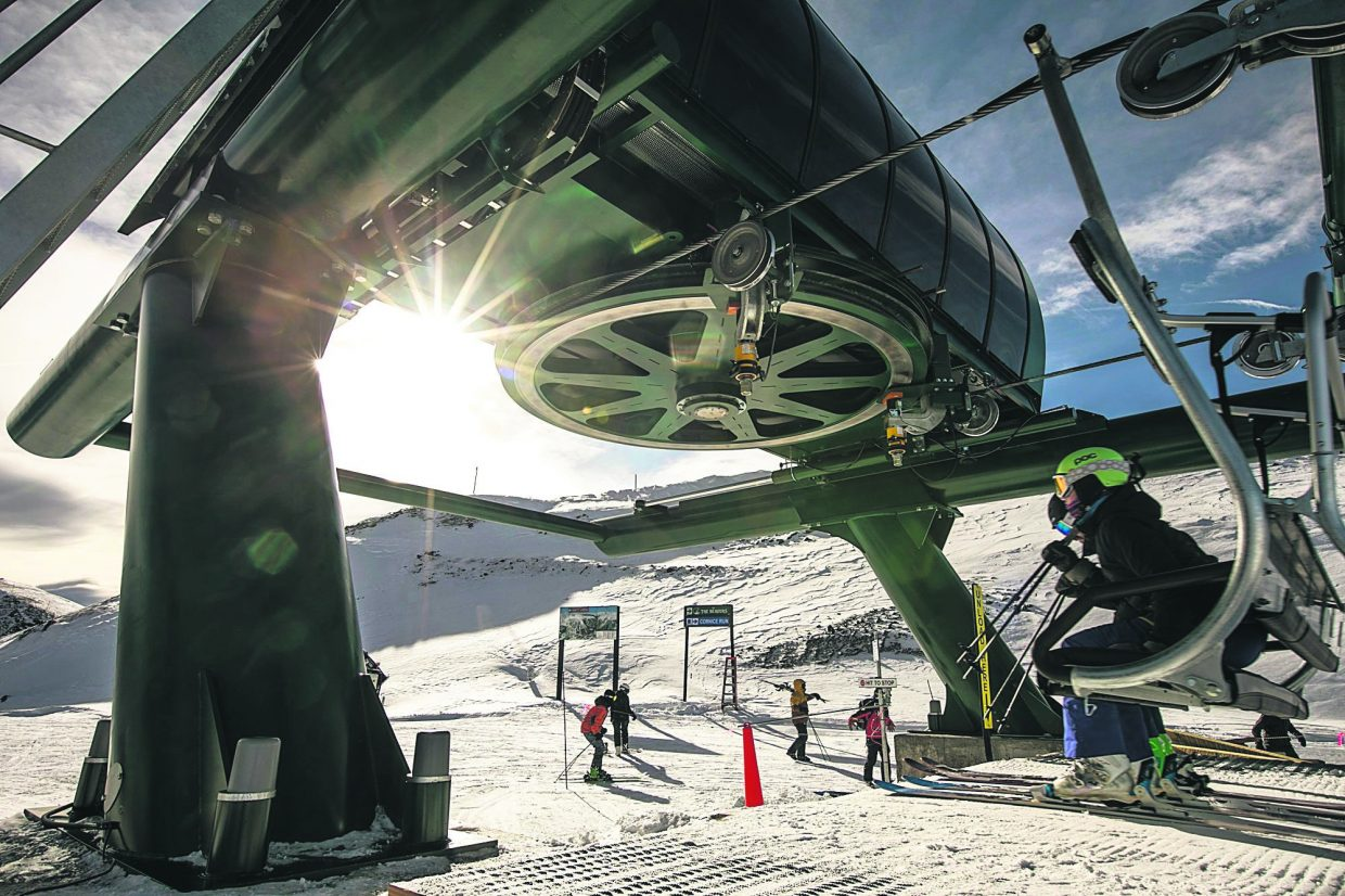 Skiers hop off the new Beavers chairlift near Snow Plume Refuge on Tuesday, Nov. 27, at Arapahoe Basin Ski Area. The new quad chairlift expanded lift-service to 339 acres of the the ski area's 468-acre expansion into the 34 new runs that comprise the Beavers and Steep Gullies.
