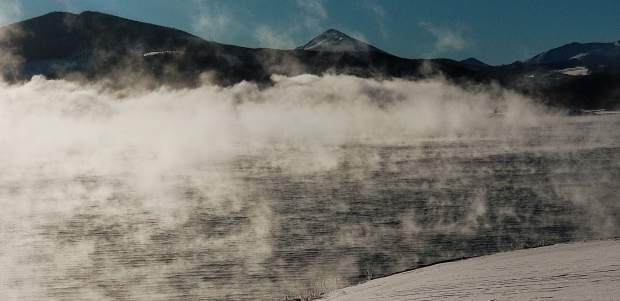 Steam from Lake Dillon.